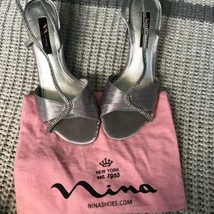 Silver Nina heels, great condition only worn once